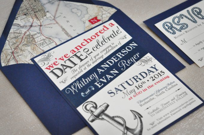 nautical wedding invitations - we've anchored a date