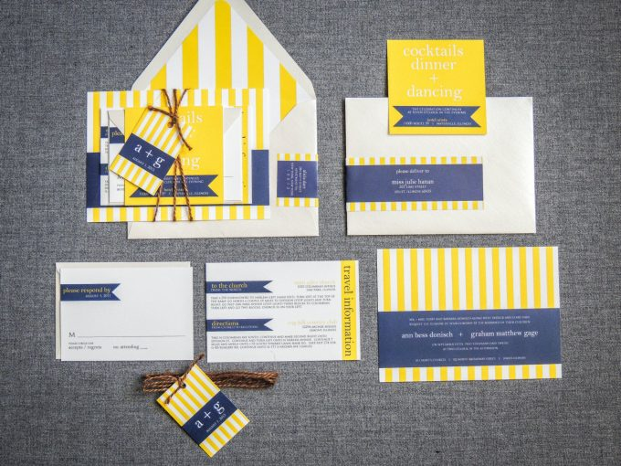 nautical wedding invitations with yellow and navy