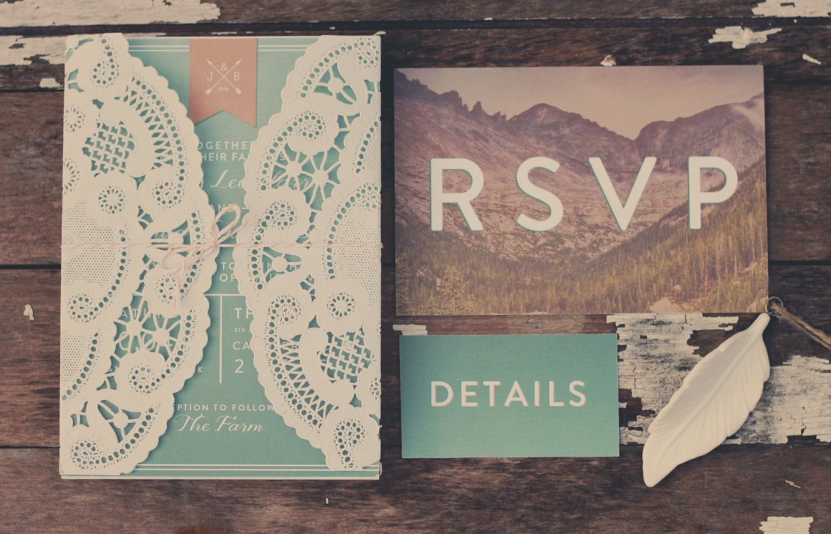 dreamy mountain wedding invitations by OhWhatLove