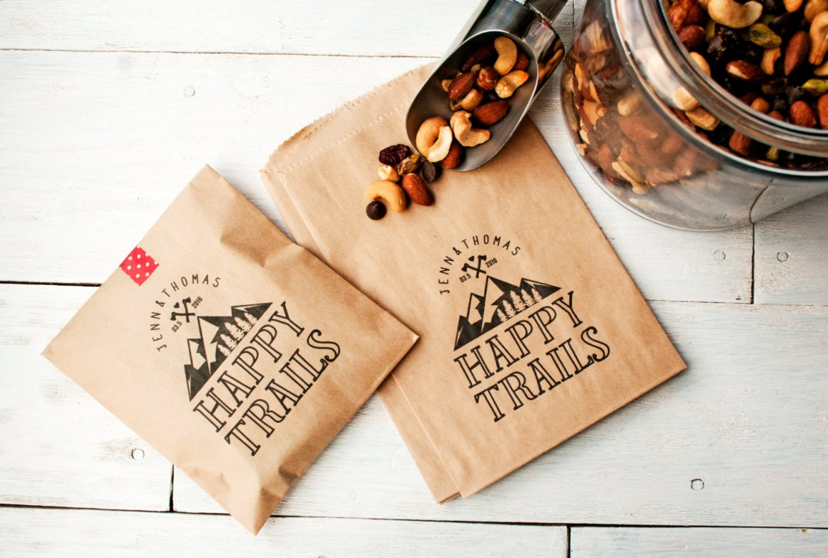 happy trails mountain wedding favor bags