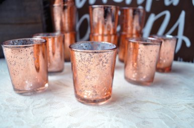 rose gold mercury glass votives by BitsOfImperfection