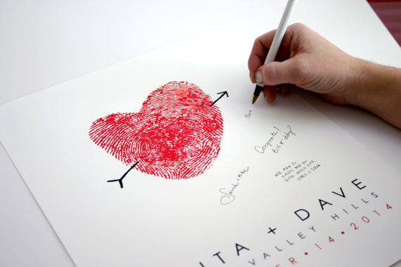 fingerprint guest book red