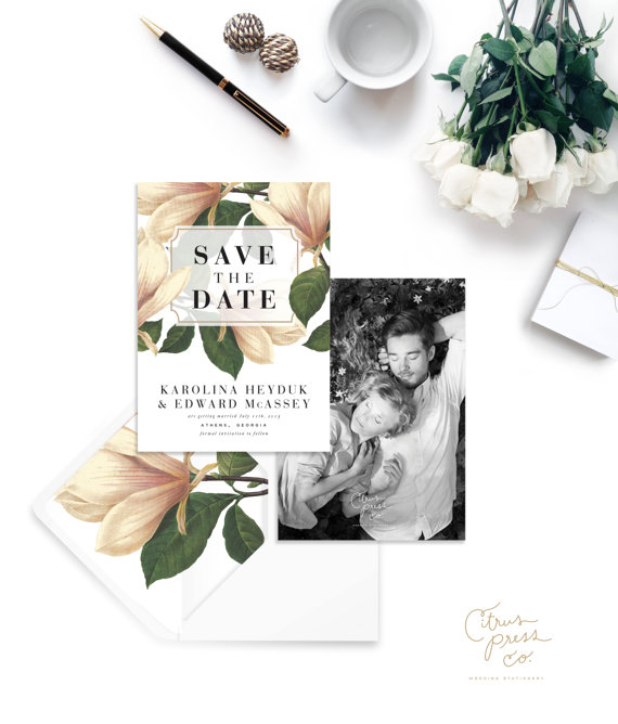 magnolia save the date card with photo printed on back