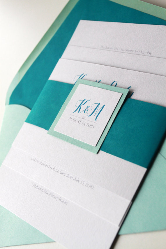 aqua and teal wedding invitations by goldensilhouette