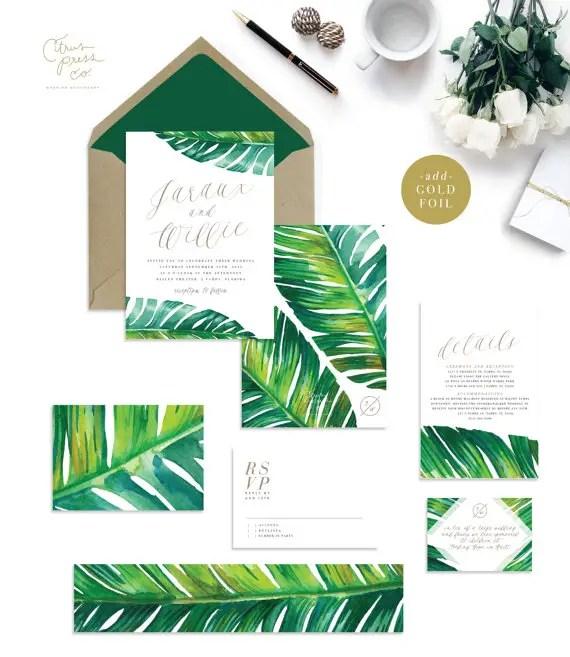 banana leaf tropical palm wedding invitations