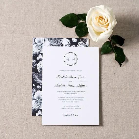 black and white elegant wedding invitations