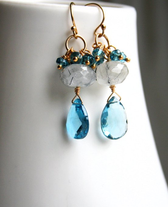 blue gemstone drop earrings