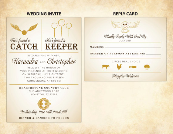 catch keeper harry potter wedding invitations