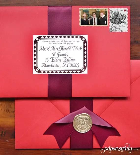 harry potter wedding invitation addressed