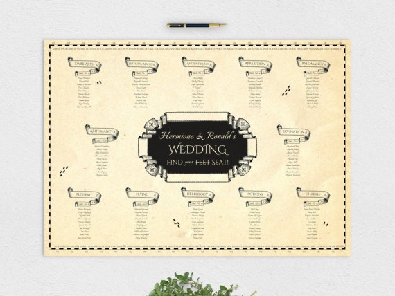 harry potter wedding marauders seating chart map