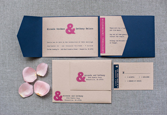 hot pink and navy ampersand invitations