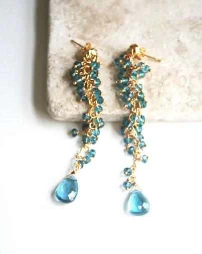 long blue luxe earrings something blue