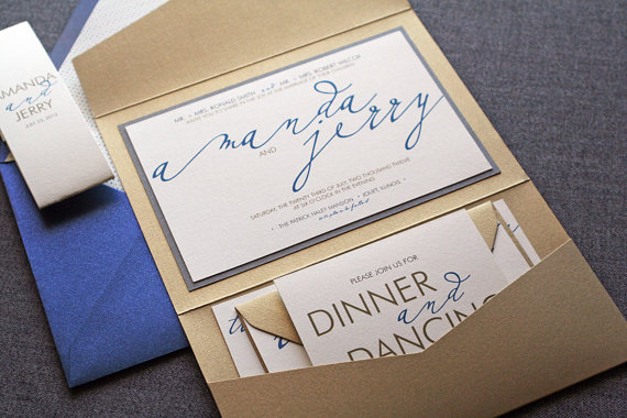 modern calligraphy script wedding invitations in gold and navy