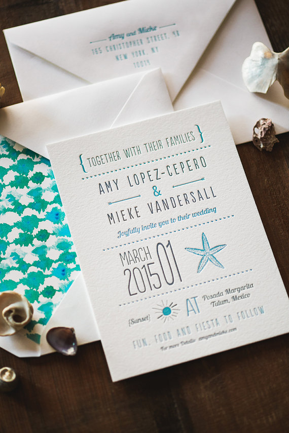 modern seaside wedding invitation