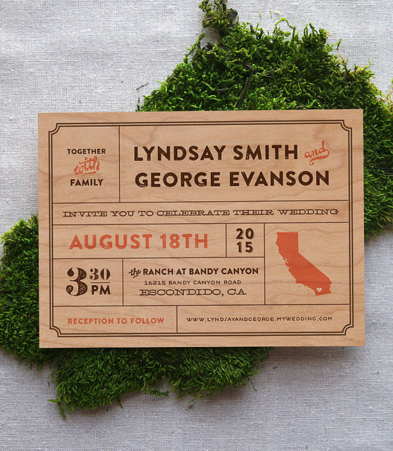 real wood wedding invitations
