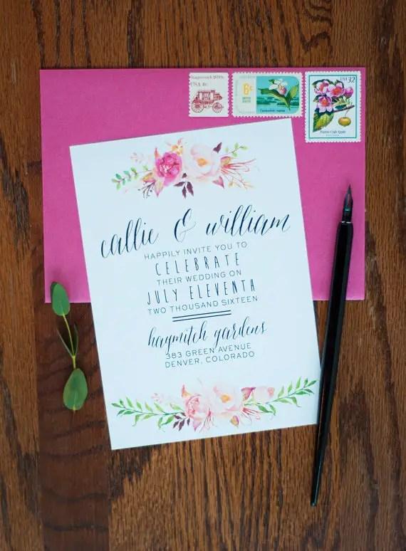 watercolor boho wedding invitation suite