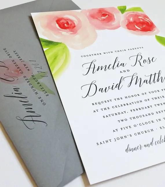 watercolor rose wedding invitations