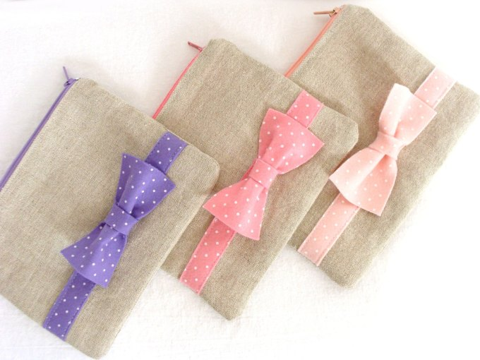 bow pouch linen bags