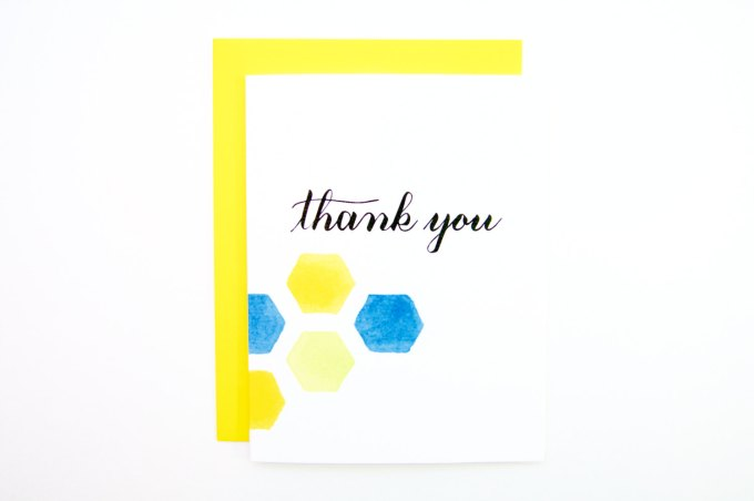 hexagon thank you cards large by simplystephko