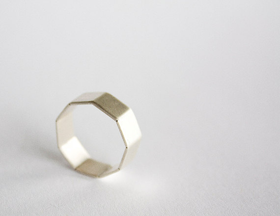 modern hexagon band wedding ring by leahstaley