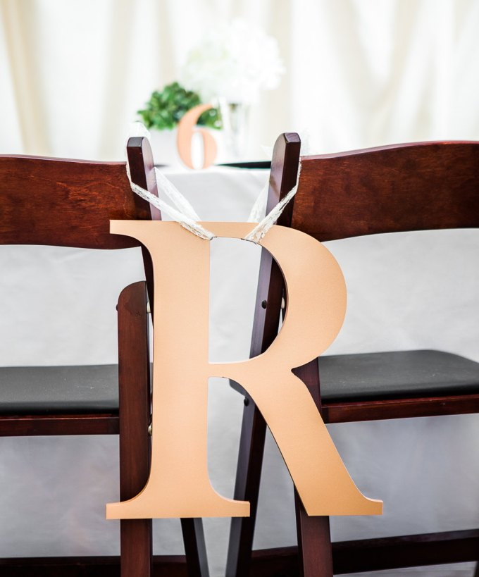 monogram | chair signs for bride and groom | by zcreate design | http://emmalinebride.com/reception/chair-signs-for-bride-and-groom/