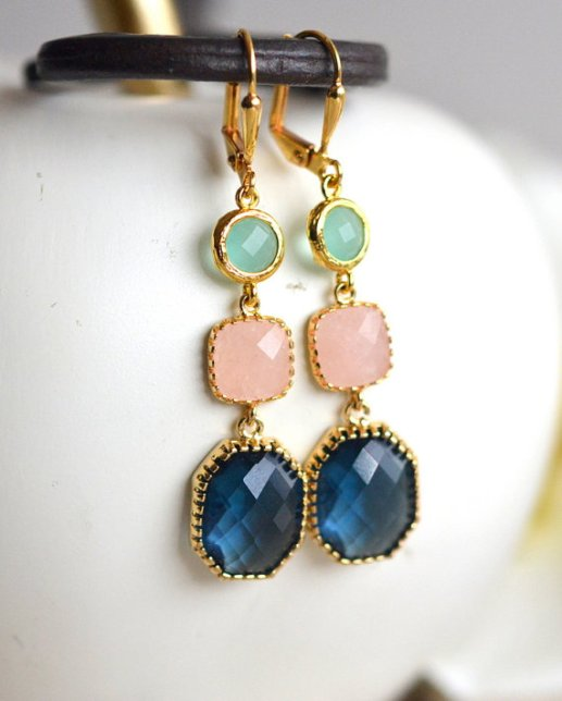 navy peach sapphire earrings by rusticgem
