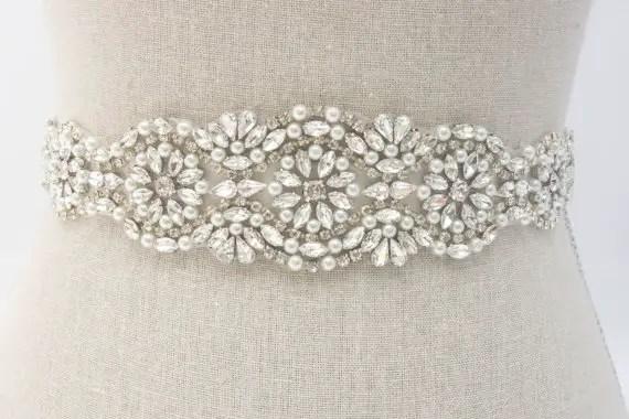 rhinesone and pearl sash by SparkleSMBridal | via Should I Add a Sash to My Dress? on Emmaline Bride | http://emmalinebride.com/bride/should-i-add-sash-to-wedding-dress/