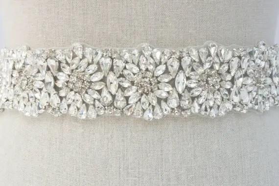 rhinestone sash by SparkleSMBridal | via Should I Add a Sash to My Dress? on Emmaline Bride | http://emmalinebride.com/bride/should-i-add-sash-to-wedding-dress/