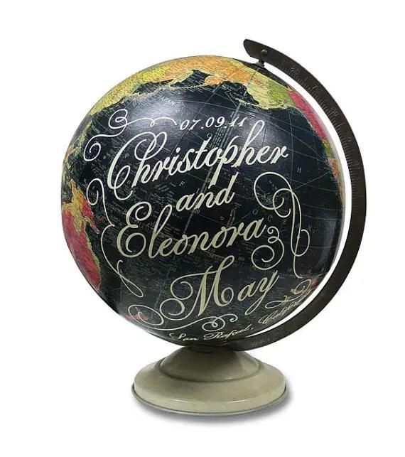 vintage map globe art