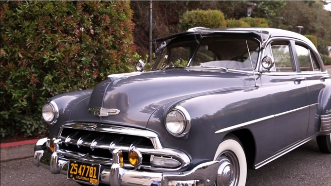 1952 chevy deluxe wedding | A Luxurious Wedding at the Kohl Mansion (California Weddings) | http://www.emmalinebride.com/real-weddings/a-luxurious-wedding-at-the-kohl-mansion-real-wedding-video/ | Film (Wedding Video): Baby Blue Film