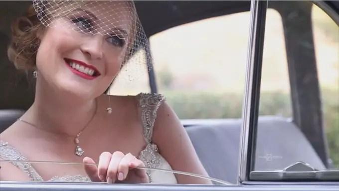 bride in car kohl mansion wedding | A Luxurious Wedding at the Kohl Mansion (California Weddings) | http://www.emmalinebride.com/real-weddings/a-luxurious-wedding-at-the-kohl-mansion-real-wedding-video/ | Film (Wedding Video): Baby Blue Film