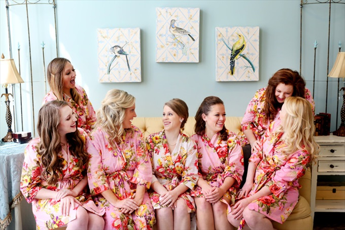 bridesmaids bride sitting in robes | Sarah + JJ's Pretty Wedding at 173 Carlyle House | http://www.emmalinebride.com/real-weddings/pretty-wedding-173-carlyle-house/ | photo: Melissa Prosser Photography - Atlanta Georgia Wedding Photographer