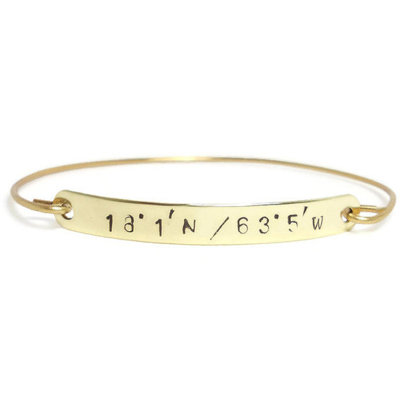 cute latitude longitude bracelets for bridesmaids - gold