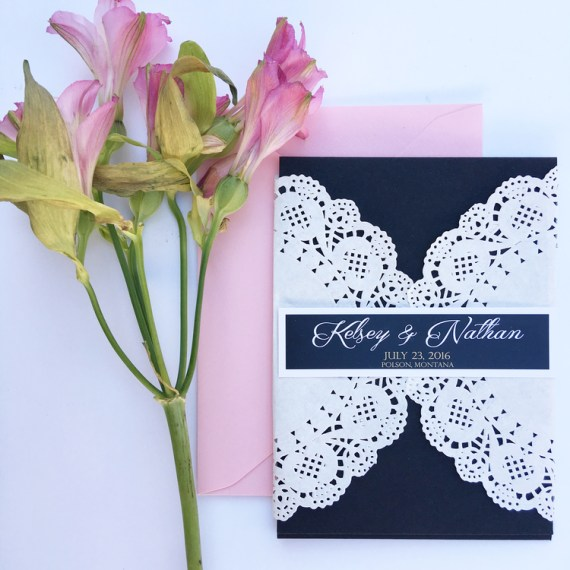 doily wedding invitation on navy