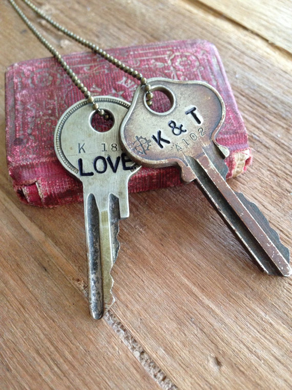Handstamped key necklace by Wooden Hive | http://emmalinebride.com/2016-giveaway/handstamped-key-necklace/