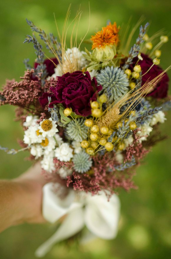 dried bridesmaid bouquets