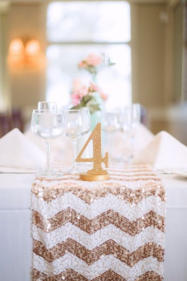 glitter table number 4 on sequin table runner