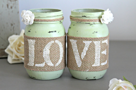 love mason jar centerpieces