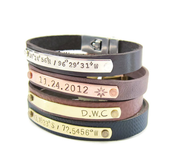 mens leather latitude and longitude bracelets