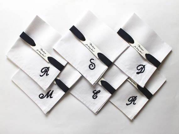 Initial necklaces for bridesmaids, initial cuff links for groomsmen & initial pocket squares | by Aristocrafts | http://emmalinebride.com/gifts/initial-necklaces-for-bridesmaids/