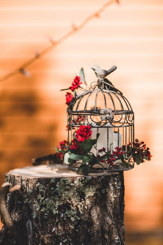 rustic birdcage centerpiece