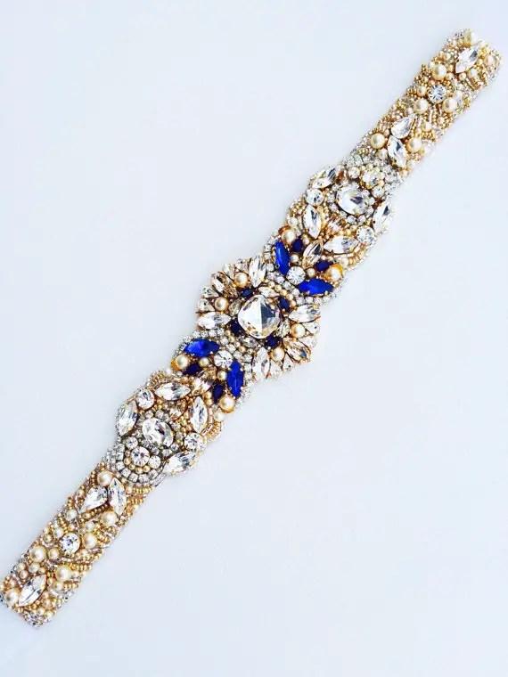 sapphire blue dress sash by KNRHANDMADE