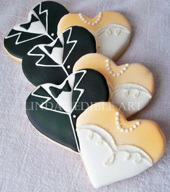 wedding cookies by lindasedibleart