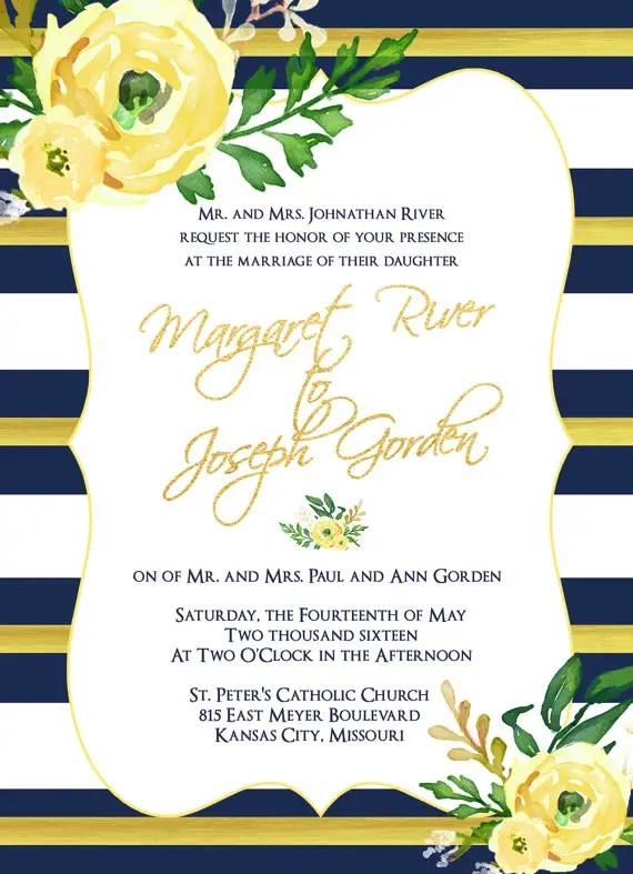 wedding invites - navy and yellow 2