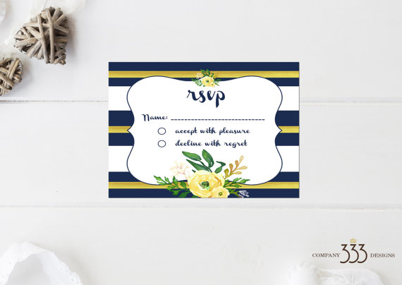 wedding invites - navy and yellow rsvpcard