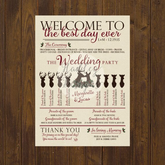 wedding program for woodland wedding