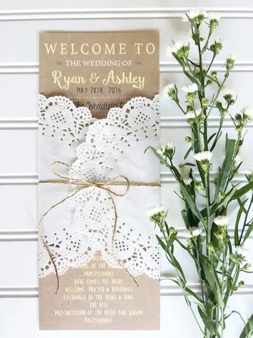 wedding program kraft wrapped in doily