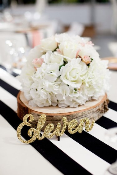 wooden words table number glitter