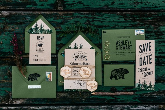 Woodland and Watercolor Bear Wedding Invitation | rustic wedding invitations etsy finds | by Wide Eyes Paper Co. | http://emmalinebride.com/rustic/invitations-rustic-weddings/