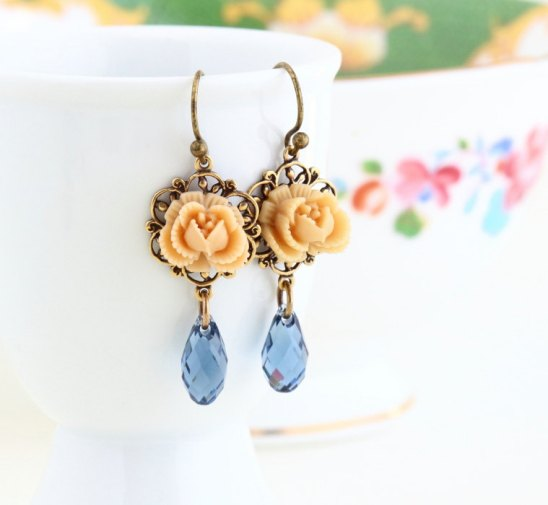 beige and denim flower earrings